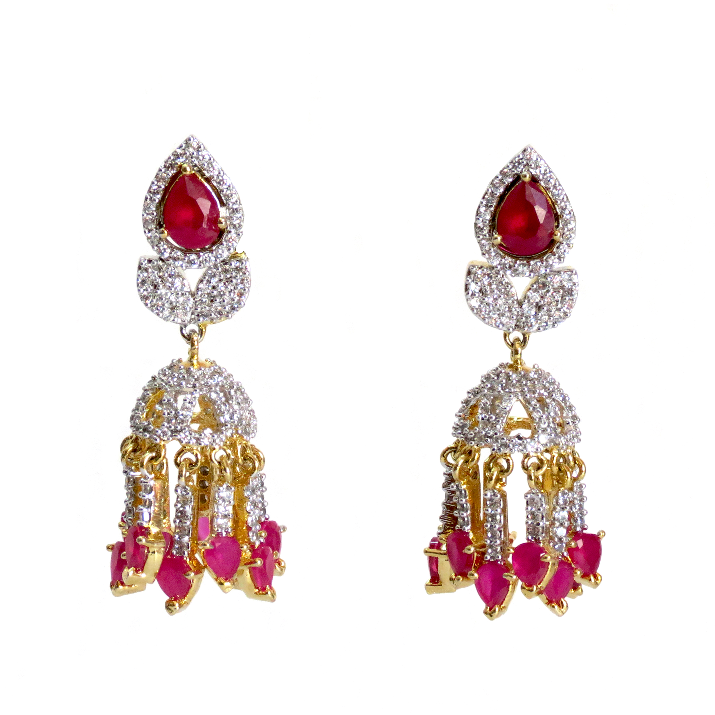 diamond long jewellery earrings rubies indian of with kundan american cz