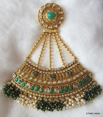 Green white beads Gold PASSA JHOOMAR tikka hair accessory