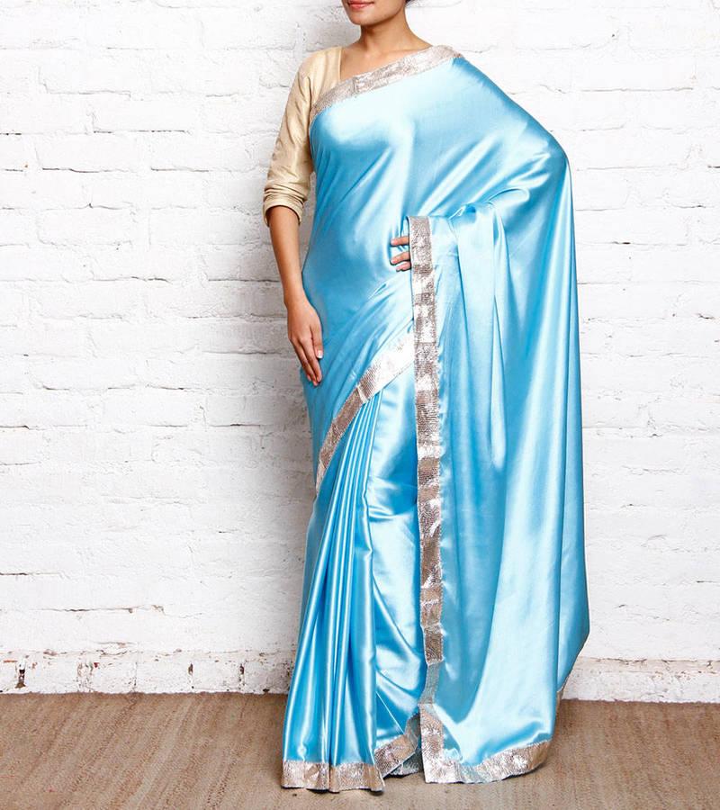 Buy Aqua Blue Plain Satin Saree With Blouse Online