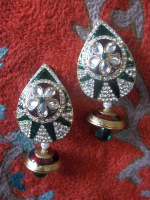 authentic large meenakari earrings