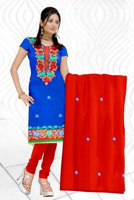 Sihiri Blue Georgette Dress Material Punjabi Suit with Red Chiffon Dupatta