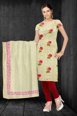 Sihiri Biege Resham Tani Supernet Dress Material Punjabi Suit with Chiffon Dupatta