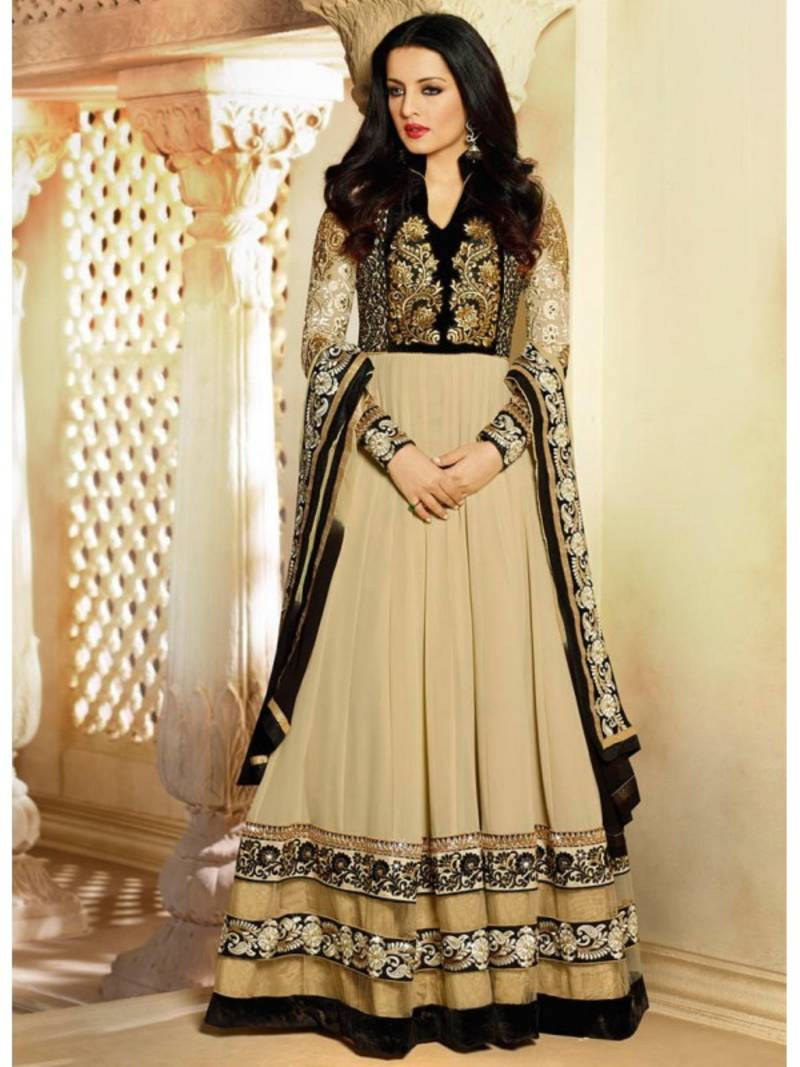 Buy Beige Embroidered Georgette Semi Stitched Salwar With
