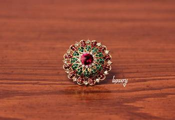 Red-Purple Green Kundan RING, Adjustable Handmade, Precious Stone Jewelry