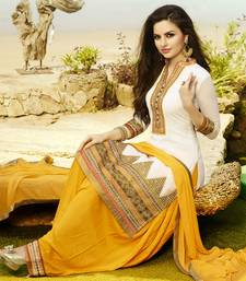 Buy White embroidered Georgette unstitched salwar with dupatta patiala-salwar online