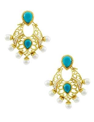 Turquoise Blue Traditional Rajwadi Dangle Earrings Jewellery for Women - Orniza