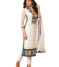 Buy Shreeji Fashion White embroidered Chiffon unstitched salwar with dupatta dress-material online