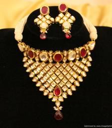Buy Royal Ruby Kundan Meenakari Choker Necklace Set necklace-set online