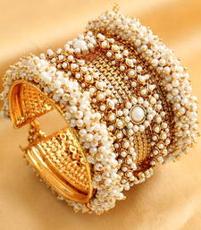 Buy Splendid open type pearl cluster bridal bangles with adjustable chain bangles-and-bracelet online