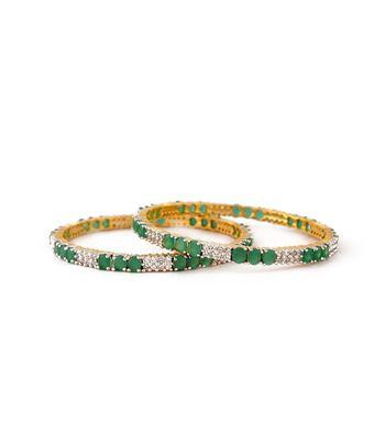 Sihiri Lovely Green And White Bangles