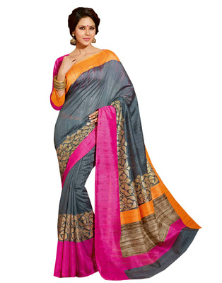 Mutlicolur embroidered silk saree with blouse