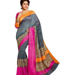 Buy Mutlicolur embroidered silk saree with blouse silk-saree online