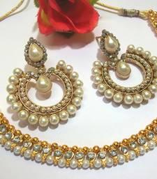 Buy White stone tilak pearl polki necklace set eid-jewellery online