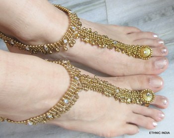 ANTIQUE GOLD  PAYAL ANKLET PAIR ATTACHED TOE RING