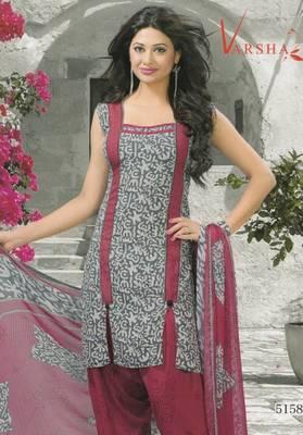 Crepe dress material elegant designer unstitched salwar suit d.no 5158