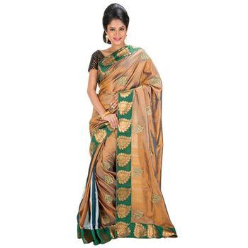 BROWN and GREEN and MULTICOLOR embroidered silk saree with blouse
