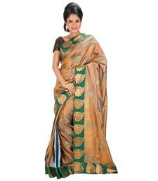 Buy BROWN and GREEN and MULTICOLOR embroidered silk saree with blouse handloom-saree online