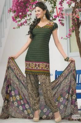 Crepe dress material elegant designer unstitched salwar suit d.no 5180