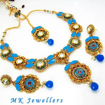 Designer Polki Necklace with Meena Finish Pale Blue Pink