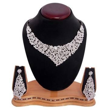 Sukkhi Youthful Rodium plated AD Stone Neclace Set 1001V