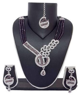 Sukkhi Stunning Rodium plated AD Stone Necklace Set 1005V