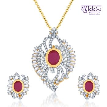 Sukkhi  Fabulous Ruby CZ Gold  and Rodium plated Pendant Set