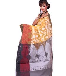 Buy YELLOW woven art silk saree with blouse banarasi-saree online