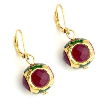 Pink Stone enamel earrings