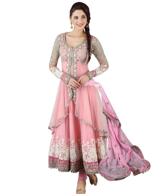 Pink embroidered georgette semi stitched indian anarkali dress