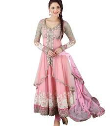 Buy Pink embroidered georgette semi stitched indian anarkali dress anarkali-salwar-kameez online