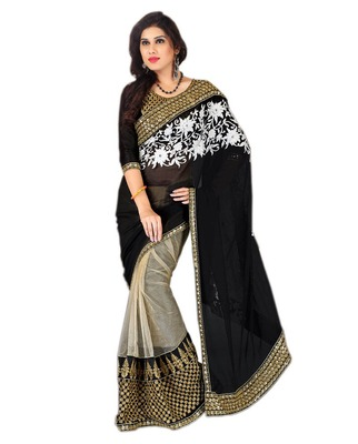 black and white embroidered net saree with blouse