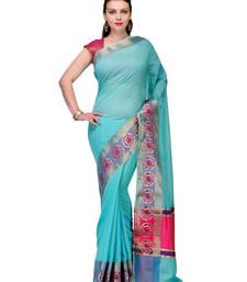 Buy Blue woven cotton silk saree with blouse cotton-silk-saree online
