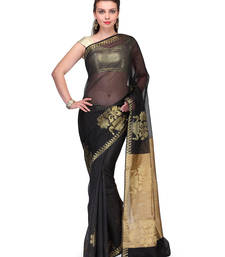Buy Black woven cotton silk saree with blouse cotton-silk-saree online