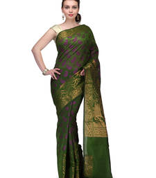 Buy Green woven cotton silk saree with blouse banarasi-saree online