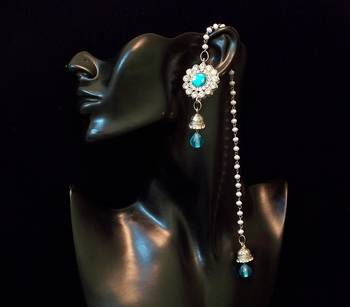 Kashmiri Peacock colored stone crystal flower kundan earring