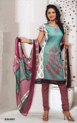 Dress Material Elegant French Crepe Printed Unstitched Salwar Kameez Suit D.No 5067