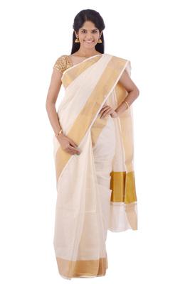 cream woven cotton saree with blouse