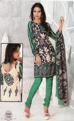 Dress Material Elegant French Crepe Printed Unstitched Salwar Kameez Suit D.No N115
