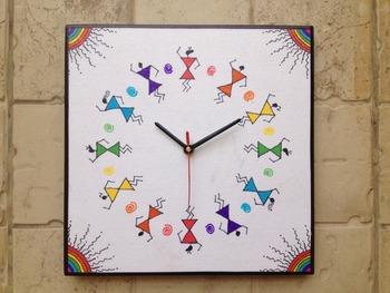 Colourful Handmade Hand Painted Warli Wall Clock