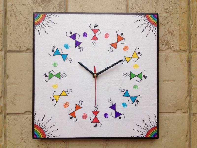 Buy Colourful Handmade Hand Painted Warli Wall Clock Online