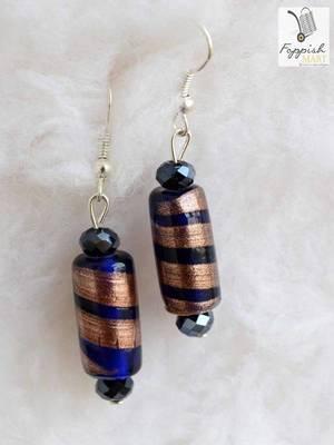 Navy-Copper Twister Earrings