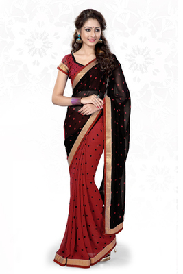 Black and Red printed georgette saree with blouse