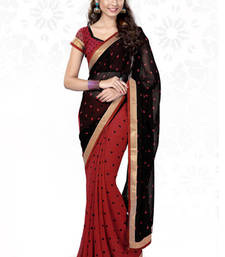Buy Black and Red printed georgette saree with blouse printed-saree online