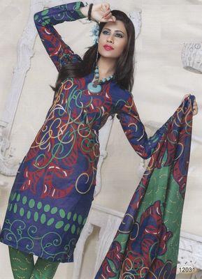 Cotton Dress Material Elegant Designer Unstitched Salwar Suit D.No 12031
