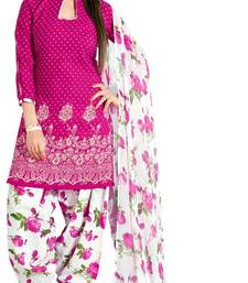 Buy Pink and White printed Cotton unstitched salwar with dupatta patiala-salwar online