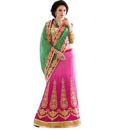 Buy Green embroidered georgette saree with blouse lehenga-saree online
