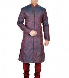 Buy BLUE SELF DESIGN JACQUARD KURTA PAYJAMA kurta-pajama online
