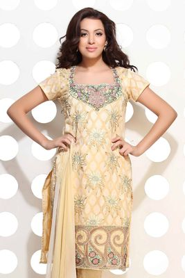 A lemon Yellow cotton jacquard embroidered suit