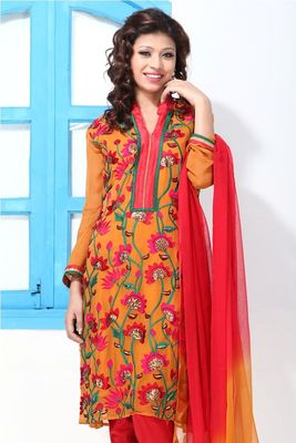 Carrot Orange Faux Georgette Embroidery Suit
