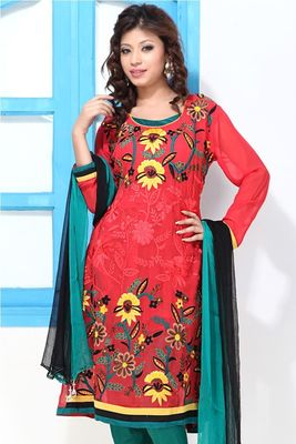 Electric Crimson Teal Faux Georgette Printed Suit